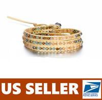 Boho Eco Leather Wrap Bracelet Weave Beads Multilayer Adjustable 💕 Handmade