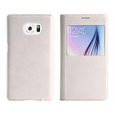 Samsung Galaxy S6 Flip Cover weiß Schutz Hülle neu Case Uni Schutzhülle Tasche