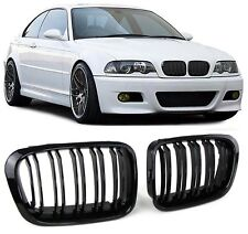 GLOSS BLACK DUAL SLAT BONNET GRILL GRILLS BMW E46 3 SERIES SALOON TOURING 98-01