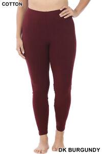 Womens PLUS Size ZENANA Full Ankle Length Leggings Cotton Stretch Pants