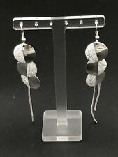 Fashion Silver Plated Sparkling Glitter Circle Dangling Chain Earrings