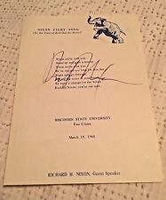 "Authentic Richard Nixon Signed Autographed ""Nixon Fight Song"" Flyer 1968 Rally"