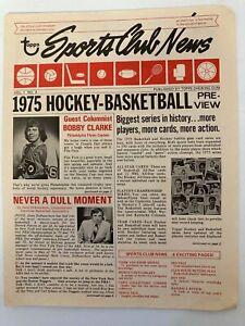 Rare. 1975 Topps Sports Club News Newsletter.   vol 1, #3, Bobby Clarke