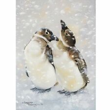 Cute penguins in the snow by Pollyanna Pickering blank greetings card