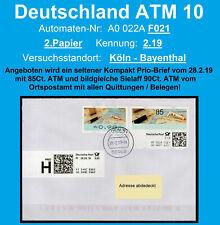 Bund ATM 10 selbstklebend / F021 / 2.Pap / 2.19 / Prio Brief 28.2.19 / Bayenthal