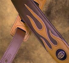 Tan Leather Flames on Brown Padded Strap