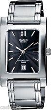 Casio Beside Mens Bem100d-1a Stainless Steel Analog Dress Watch 50m Black Dial