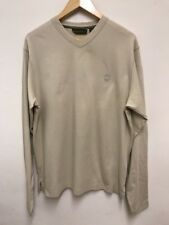 Timberland Men's Long Sleeved Cream Coloured T-shirt V Neck Size M Medium