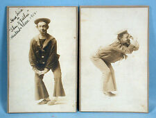 1912 Vaudeville 2 Original Stage Photos Haus Heine Eccentric Actor Promotional