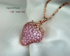 Wild Strawberry - 18K(750) rose gold gorgeous pink sapphire diamond pendant