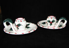 LEFTON Handled CANDLEHOLDERS Vintage HOLLY CANDY CANE Pattern