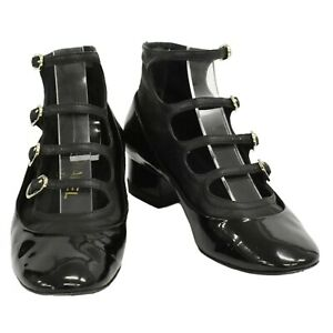 CHANEL Coco Mark Patent Leather Mary Jane Heel Pumps Strappy Shoes Black #35C