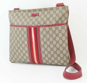 Auth GUCCI Brown GG PVC Canvas and Red Leather Tote Shoulder Bag Purse #40573