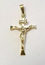 Gold 585 Kreuz Anhänger Jesus Christus Taufe Kommunion mit Kette Silber 925 verg