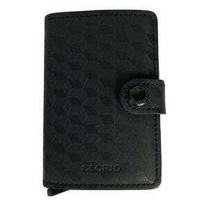 SECRID Miniwallet Optical Black Titanium Leather Wallet RFID Blocking Gift Metal