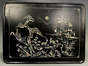 Fine Korea Korean lacquer tray Mother of Pearl Deer and Cranes scene ca 20th C