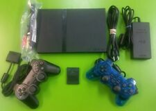 Sony PS2 PlayStation 2 Slim Edition Black Console, 2 controllers, memory card