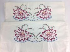 2 Vtg Hand Embroidered Pillow Sham Cases Pink Water Lily Flower Feed Flour Sack