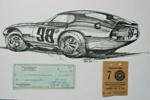 1963 Carroll Shelby Autograph Check Pete Brock Cobra Coupe Posters & Pass SAAC
