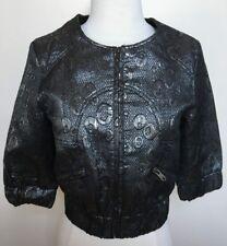 PRINCESS HIGHWAY Pewter Silver Metallic Cropped Textured Collarless Jacket 8