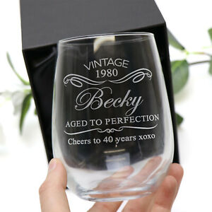 Personalised Engraved Stemless Wine Glass Birthday 18th, 21st, 40th Gift Any Age