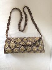 New Beaded Bag Handbag  Evening Party Bag Small Beads Clutch Brown Gold