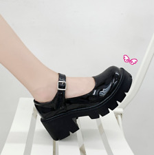Womens Round Toe Japanese Mary Jane College Buckle Lolita Platform Leather Shoes