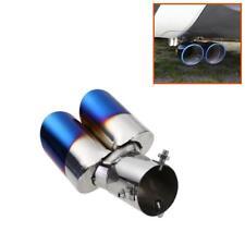 63mm Universal Blue Burnt Car SUV Rear Exhaust Dual Muffler Pipe Tip Tail Throat