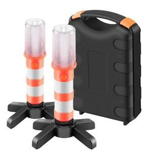 2x LED Emergency Beacon Roadside SOS Road Flares Safety Strobe Light Amber+White