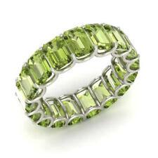 3.40 Carat Natural Peridot Gemstone Eternity Wedding Band 950 Platinum Size P Q