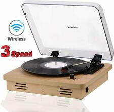 Bluetooth Record Player Pareiko Wooden Turntable with Stereo Speakers 3 Speeds