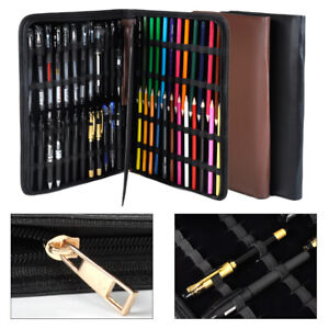 Luxury PU Leather Fountain 48 Pen Case Pencil Roller Holder Storage Bag Portable
