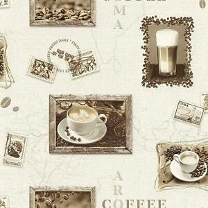 Rasch Kitchen Cappuccino Mocha Coffee Map Wallpaper - Brown / Beige - 855104