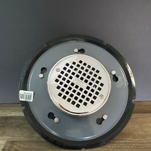 Oatey 82192 ABS Adjustable Commercial Drain with 6-Inch CHR Grate and Round Ring