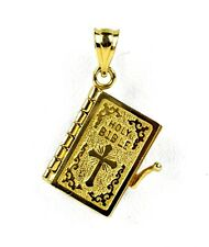 14k Yellow Gold 3D Holy Bible Lord's Prayer Cross Pendant 3.5 GRAMS