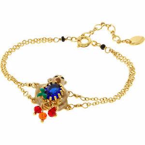 NEW Les Nereides Monkey Bracelet Bangle 14ct Gold Plated Enamel RRP £90