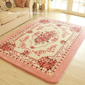 French Victoria Rose Floral Living Room Bedroom Floor Mat Rug Carpet Style A
