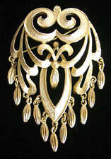 """Vintage 60's MONET """"ROCOCO"""" Gold tone BROOCH with FRINGE/Dangles~Book Piece,FJT"""