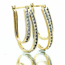 1.00 Ct Diamond Hoop Oval Shape Earring 14k Yellow Gold Two Row