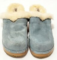 Women's UGG Australia Light Blue Kalie Clogs 5426 Shearling Leather Size 12