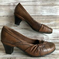 """Cobb Hill 7.5W Brown Leather Dress Pump Knotted Accent 2.5"""" Block Heel"""