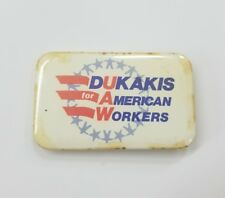 UAW Dukakis For American Workers Button Pin