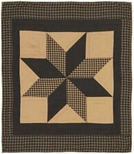 Blanket Throw Quilted Black Tan Feathered Dakota Star Patchwork Wall Hanging