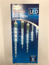Dripping Cool White Icicle Lights LED Set of 6 Lighted Length 6.5 ft. (LED)