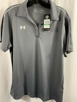Women's Under Armour Loose Heat Gear Gray V Neck Polo Golf Large White Stripe