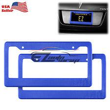 2Pcs Plastic Blue Carbon Fiber Style License Plate Frames Front & Rear Bracket
