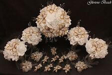 Bridal Bouquet Wedding Flower White & Gold  17 PC Package BEADED LILY Rose