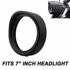 "Black 7"" Headlight Trim Ring Visor For Harley Davidson FLD Touring Road King"