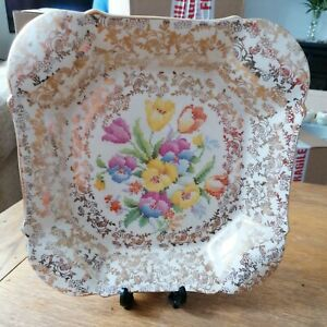 H&K TUNSTALL Art Deco Gilded Dish Pancies and Tulips Stitched Design 21.5x4cm