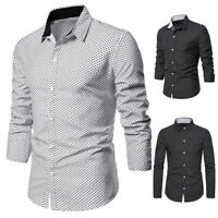 Mens Long Sleeves Shirts Polka Dot Formal Slim Multicolor BusinessT-Shirts